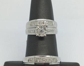 14K and 18K White Gold Natural Diamond Trio-Set Ring