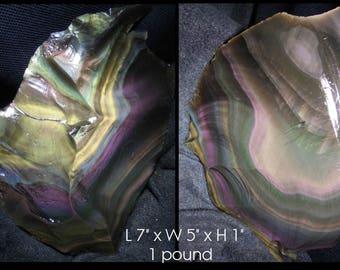 Large 1 Pound Rough Rainbow Obsidian Display Piece