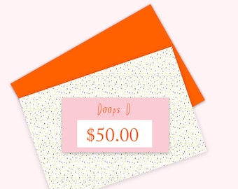 Gift Certificate 50 aud - print out straight away - can be used throughout 2017
