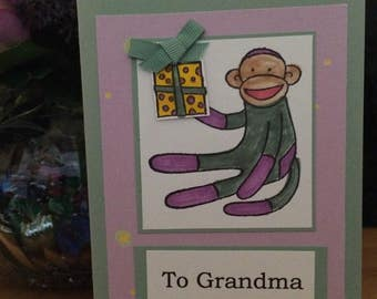 SALE!! Mother's (Grandma/Sock Monkey) Day Card