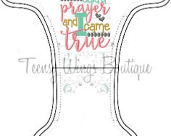 Custom embroidered two layer fleece diaper cover. My Mommy said a prayer and I came truecloth diaper cover,cloth diaper, Miracle baby diaper