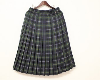 Pleated Tartan Skirt Vintage 80s Plaid Skirt Blue Green Wool Kilt  Skirt SYLBO Checkered Woolen Skirt Medium to Large