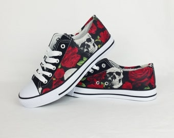 Skulls and roses, skull shoes, alternative fashion, customized sneakers, custom shoes, women shoes, goth shoes, gothic plimsolls, birthday