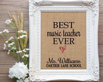 Music Teacher Gift, Best Music Teacher Ever Burlap Print, Music Teacher Valentine Gift, Band Teacher Gift, Teacher Gift, Gift Teacher