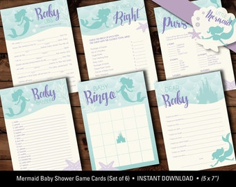 Little Mermaid Baby Shower Game Cards, Mermaid Baby Shower Games, Mermaid Baby Shower Printables, Mermaid Baby Bingo, Mermaid Baby Babble