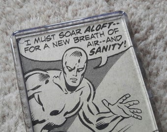 Unique Recycled Vintage Comic Book 'Silver Surfer' Fridge Magnet/Mini Frame - Upcycled & Unique Comic Gifts
