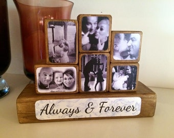 Photo Stacking Blocks / Photo Blocks - Always & Forever / photo gift / keepsake / loved one / photo block / wooden blocks / photo cube