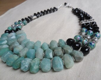 Necklace  from Natural Brazilian Amazonite, Onyx and  Venetian Beads.