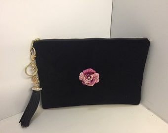Black velvet clutch with removable rose pin and black tassel