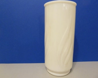 White Cylindeer Vase, Fronds Design, Unmarked