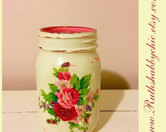 Cottage shabby chic mason jar pencil holder/dorm decor/brush holder/desk accessories/office organization/classroom decor/centerpiece
