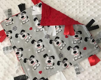 Personalized Tag Minky Sensory Ribbon Blanket Lovey- Red with Grey Puppy Dogs on Minky