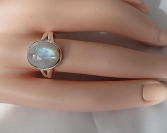 Silver moonstone ring, size 8.75, 92.5 sterling silver,oval cabochon rainbow moonstone, free shipping