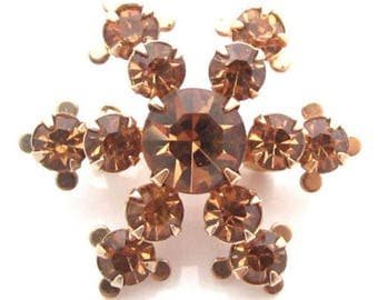 Elegant Small Vintage Gold Tn Topaz Rhinestone Winter Snowflake Brooch Pin*Y13