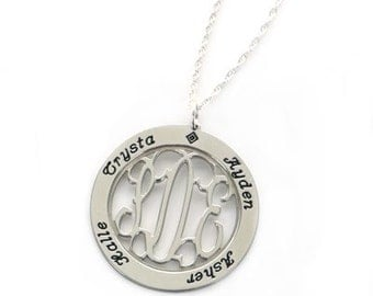 Medium Sterling Silver Mother's Pendant Necklace