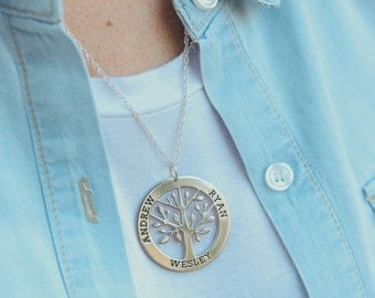 Medium Sterling Silver Family Tree Pendant Necklace
