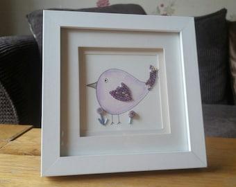 Original Mixed Media Art - Watetcolour Purple Bird - Micro Mosaic