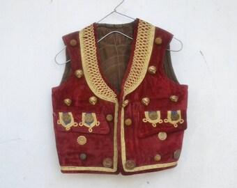 Vintage Uzbekistan vest, Afghani, military, kids size, xxs, antique vest, embroider vest, napoleon, button, air force