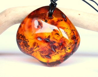 Amber Pendant With Leather, Amber Necklace, Amber Jewelry, Massive Amber Bead, Natural Baltic Amber, Cognac Color Amber, Amber And Leather