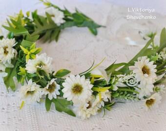 Wedding flower crown Flower hair wreath Bridal Flower Crown Woodland Crown Wedding floral crown Boho wedding hairpiece Floral Halo LV12