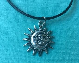 SALE! Sun and Moon Choker Necklace - handmade - boho - leather chain - silver pendant