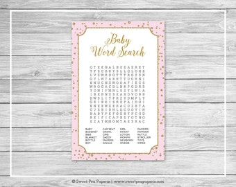 Pink and Gold Baby Shower Baby Word Search Game - Printable Baby Shower Baby Word Search Game - Pink and Gold Confetti Baby Shower - SP145
