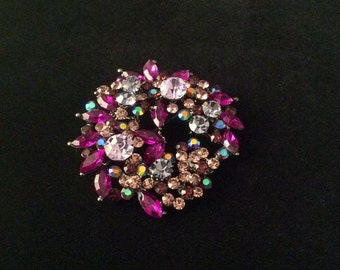 Pink and Purple Floral Rhinestone Pin