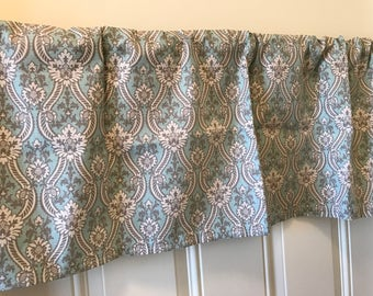 Gray blue white damask flower Curtain Valance