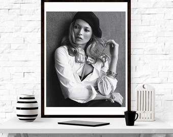 kate Moss Beret - Home Décor, Vintage poster, Fashion, Model, Print, Gift for her,