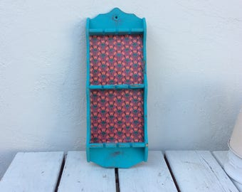 Decoupaged bright Turquoise Spoon/Necklace Display