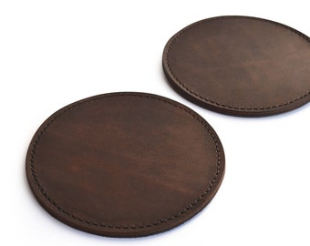 Round Lined Leather Coasters Handmade Leather Coasters Leather Coaster Set Round Coasters Set of Drink Coasters