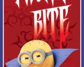 "Bite Me Minions Vampire Halloween Minions 100% cotton fabric Panel 43"" X 24""   (M35)"