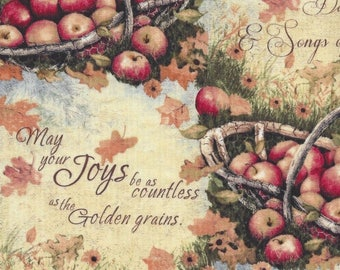 "Harvest Basket Of Apples 100% cotton 43"" wide fabric (H5)"