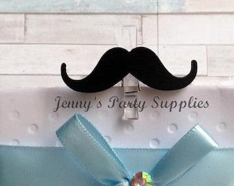 Set of 12 Mustache Favor Bag Clothespins, Mustache Decorative Pins, Little Man Baby Shower Pins