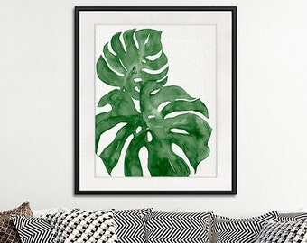 Monstera deliciosa print green palm print, leaves art print, leaf print, green wall art, plant art, minimlaist decor, botanical art - N8