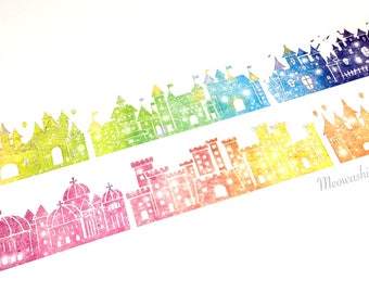 Rainbow castles washi tape (T01046)