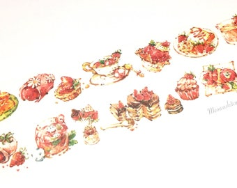 Strawberry dessert washi tape (T01053)