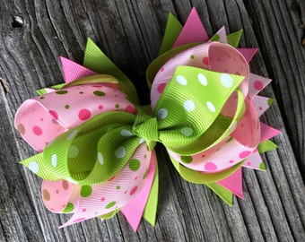Big Hair Bow clip 5 inches for baby toddler girl , multiple layers , Christmas gift , Birthday gift for girls