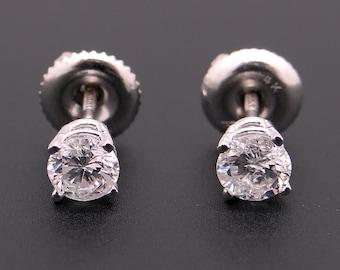 Dazzling 14k White Gold .50ct Round Brilliant Cut Diamond Stud Earrings Screw Back