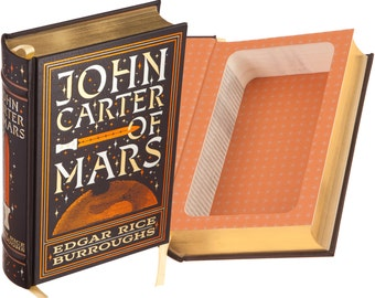 Hollow Book Safe - John Carter of Mars by Edgar Rice Burroughs (Leather-bound) (Magnetic Closure)