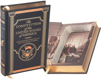Hollow Book Safe - The Constitution of the United States of America by The Founding Fathers (Leather-bound) (Magnetic Closure)