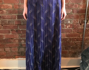 Edwardian Vibrant Blue Silk High Waisted Skirt