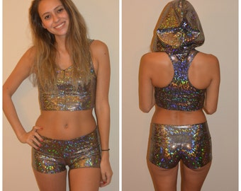 Cosmic Holographic Shorts,  Booty Shorts, Festival Clothes, Sexy Cheeky Pants, Shiny Leggings,  Rave Shorts, Festival Shorts, dancewear