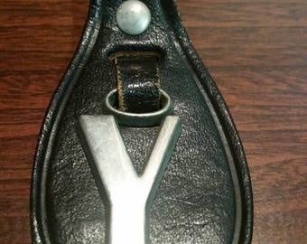 Leather Y keychain