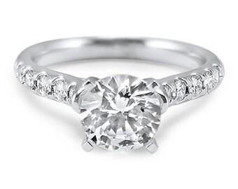 14k White Gold Moissanite French Cut Round moissanite engagement ring Forever ONE center 1/2 carat, 1 Carat, 2 Carat 3 Carat center art deco