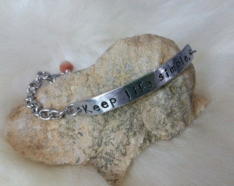 Keep Life Simple ID Bar Bracelet Custom Hand Stamped Aluminum with Peach Moonstone Dangle Personalized