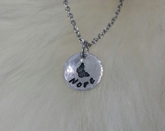 Hand Stamped Name and Butterfly Pendant Necklace