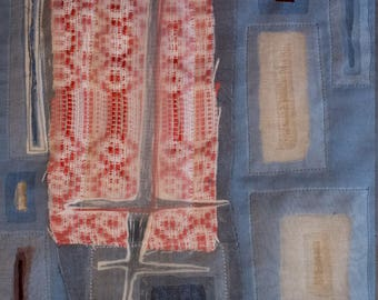 Fibre art/textile art, wall hanging - Transparencies I-Free shipping to Canada and USA!