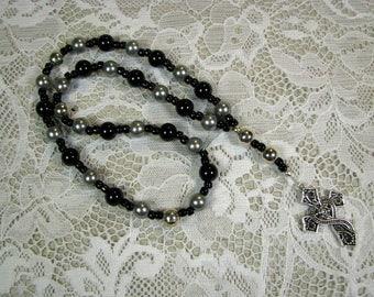Anglican Prayer Beads - Rosary - Black - Gray - Silver