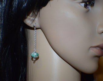 Green picture Turquoise dangle earrings, sterling silver friction post dangle earrings, 2 inches long, handmade